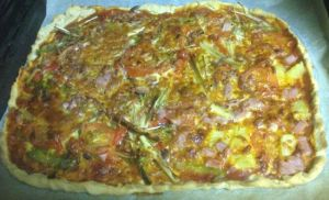 pizza vegetal y hawaiana