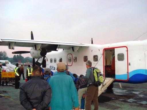 plane at the airport in Kathmandu, Nepal