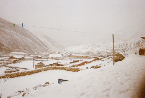Snow covered village of Dingboche, Nepal