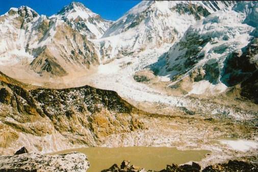Looking down at Khumbu Glacier and Icefall from Kala Pattar, Nepal