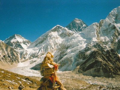 View of Mount Everest on the way up Kala Pattar, Nepal