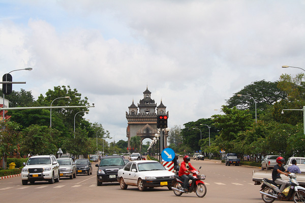 Patuxai from Avenue Lang Xang in Vientiane, Laos