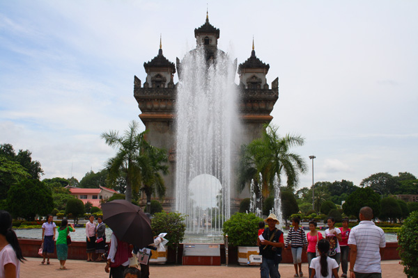 fountain at Patuxai in Vientiane, laos