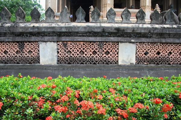 Wall at Ho Phra Keo in Vientiane, Laos