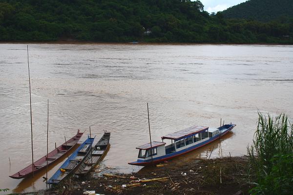 Boats on the banks of the Mekong River at Luang Prabang, Laos