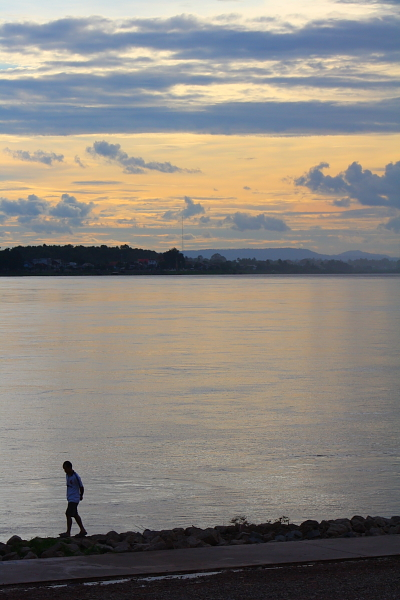 mekong river sunset at Vientiane, Laos