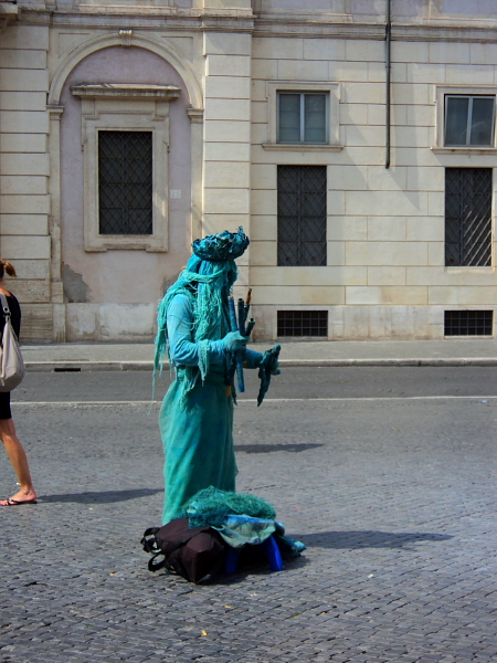 A performer in Piazza Navona in Rome, Italy