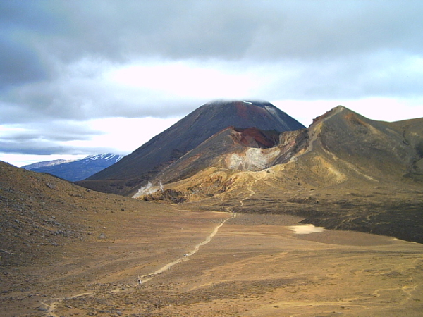 View across the central crater on Tongariro crossing, New Zealand