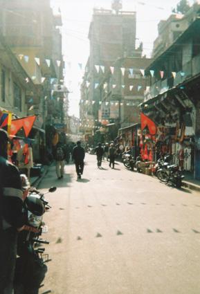 Street in Thamel in Kathmandu, Nepal