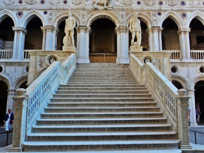 Stairs at the entrance of the Doge's Palace in Venice, italy