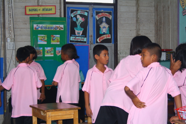 Kids in school at Koh Panyee, Thailand