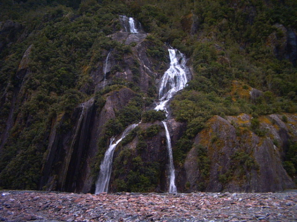 A waterfall at Franz Joseph Glacier, New Zealand