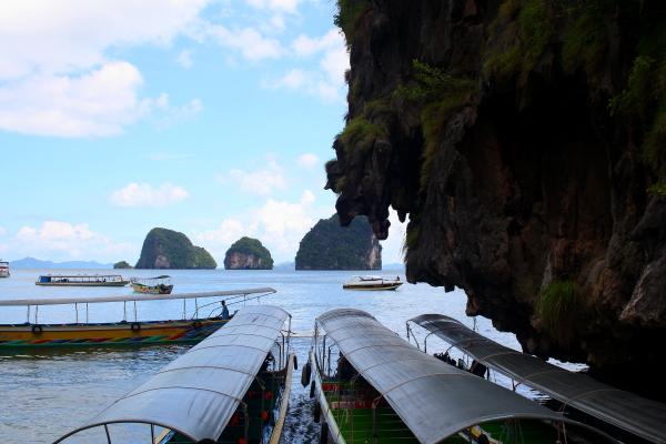 Long tail boats at James Bond Island, Thailand