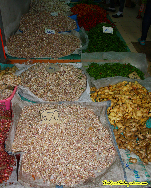 garlic ginger and chillies at a market in Chiang Rai, Thailand