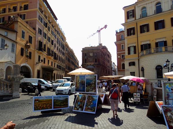 Paintings in Piazza Trinità dei Monti in Rome, Italy