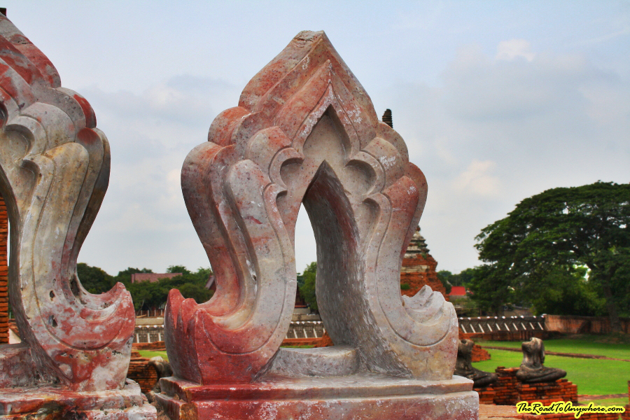 Stone carving at Wat Chaiwatthanaram in Ayutthaya, Thailand