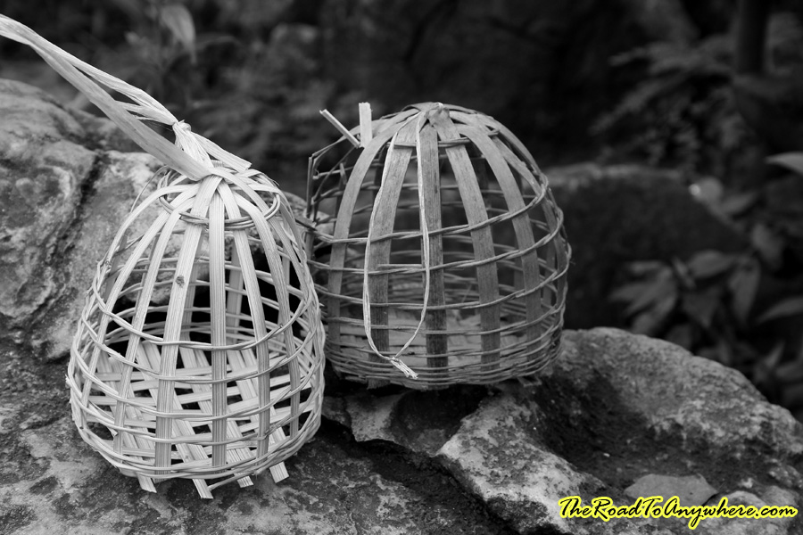 Tiny bird cages at Mount Phousi in Luang Prabang, Laos