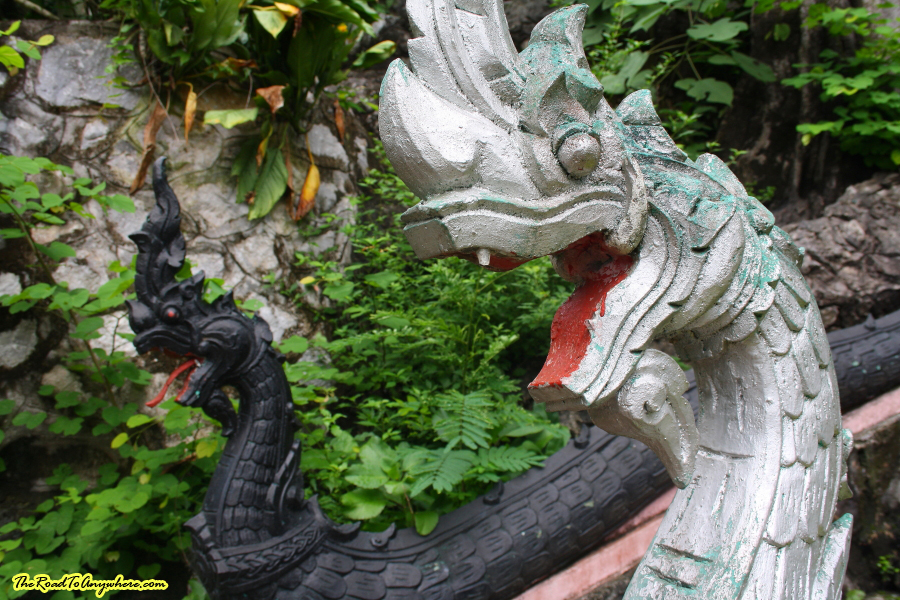Naga heads at Mount Phousi in Luang Prabang, Laos