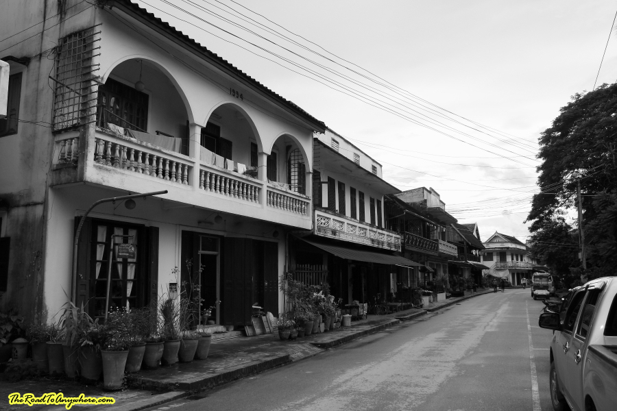 A street in black and white in Luang Prabang, Laos