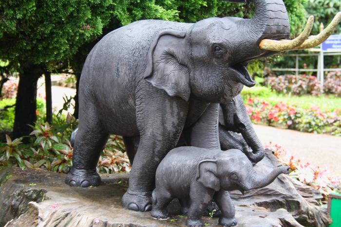 Elephant Statues At Phra Mahathat Naphamethanidon, Thailand