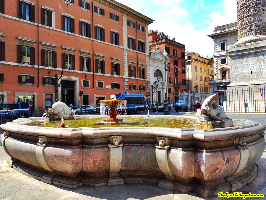Fountain in Piazza Colonna in Rome, Italy