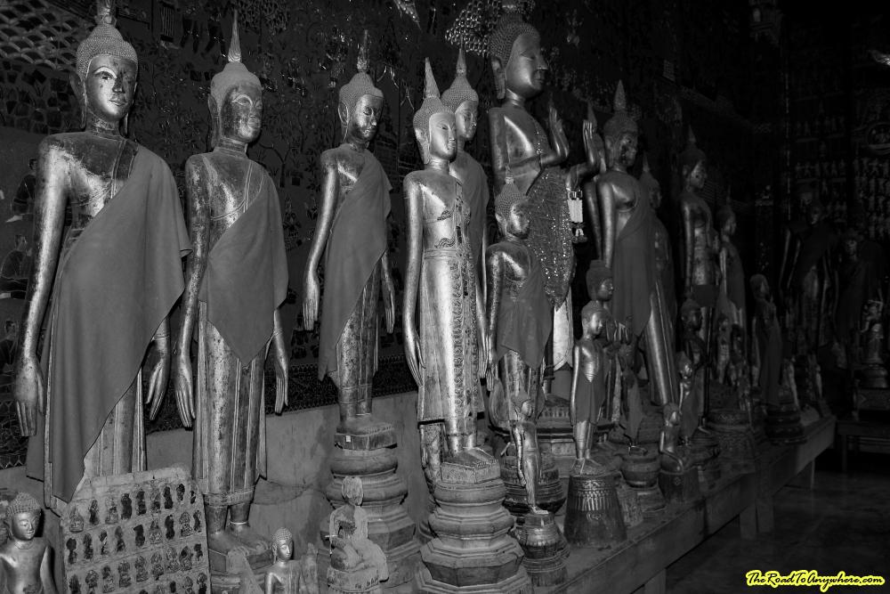 Buddha statues at Wat Xieng Thong in Luang Prabang, Laos