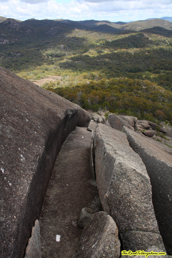 Looking down the path on the Pyramid in Girraween National Park, Australia