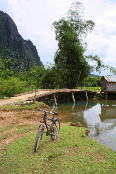 Cycling in the countryside in Vang Vieng, Laos