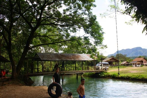 Swimming at the Blue Lagoon in Vang Vieng, Laos