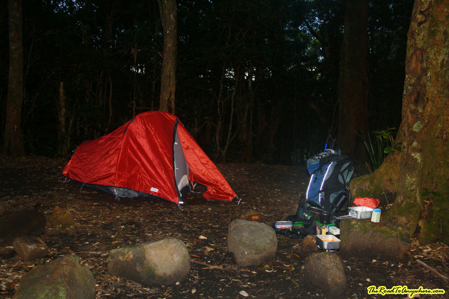Campsite in the saddle of Mount Barney, Australia