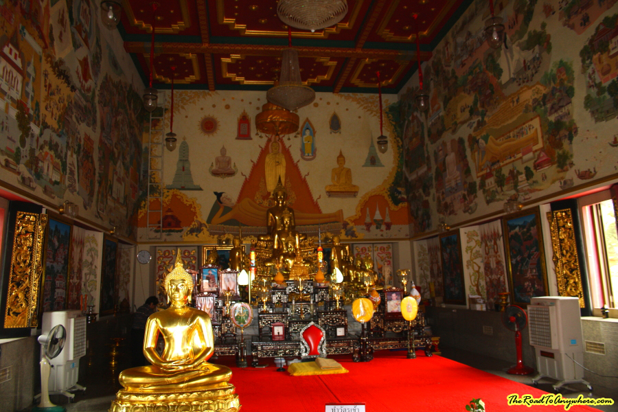 Inside the main shrine at Wat Indraviharn in Bangkok, Thailand