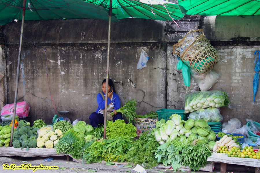 Street side vegetable stall in Chiang Rai, Thailand