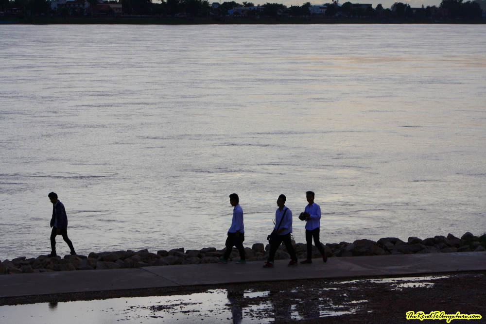 Group of students at Sunset in Vientiane, Laos