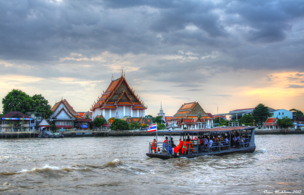 Ferry at Wat Kalayanamit on the Chao Phraya River in Bangkok, Thailand