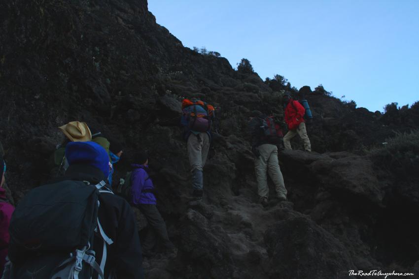 Climbing the Great Barranco Wall on Mount Kilimanjaro, Tanzania