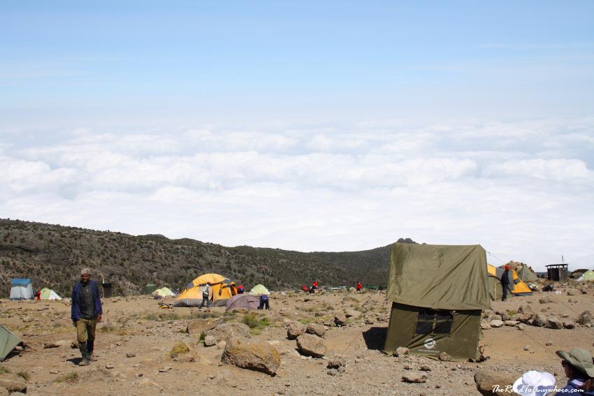 View down the mountain at Karanga Camp on Mount Kilimanjaro, Tanzania