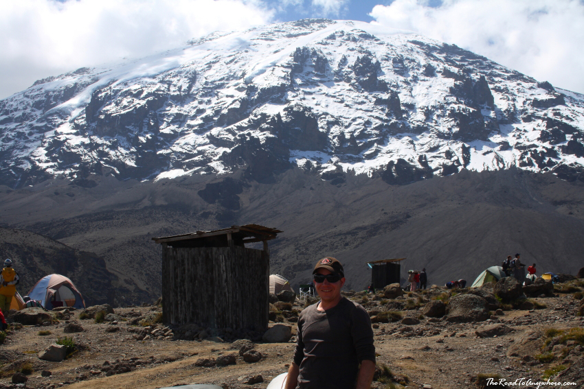 Karanga camp with Kibo Peak behind me on Mount Kilimanjaro, Tanzania