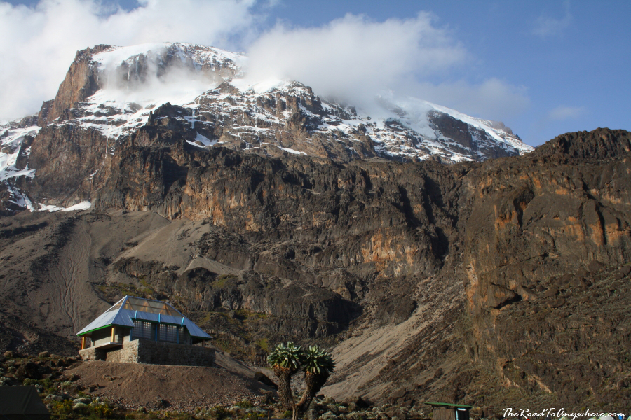 View of Kibo Peak and Barranco Hut on Mount Kilimanjaro, Tanzania