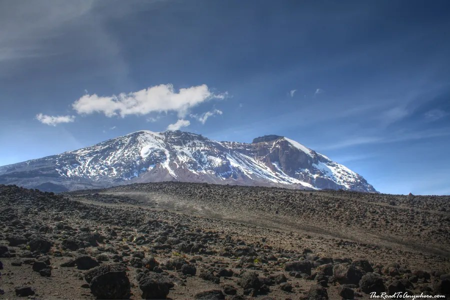 Kibo Peak from the Shira Plateau on Mount Kilimanjaro, Tanzania