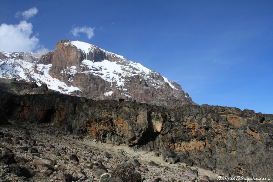 Kibo Peak on the way into the Barranco Valley on Mount Kilimanjaro, Tanzania