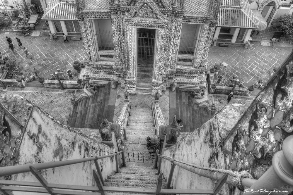 Looking down the stairs at Wat Arun in Bangkok, Thailand
