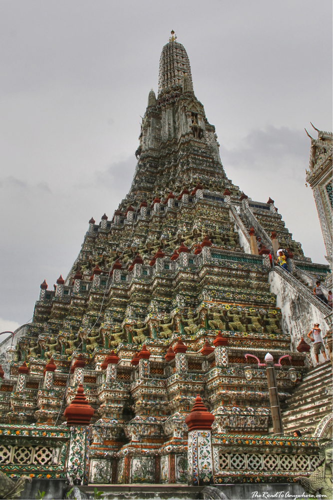Tall central tower at Wat Arun in Bangkok, Thailand