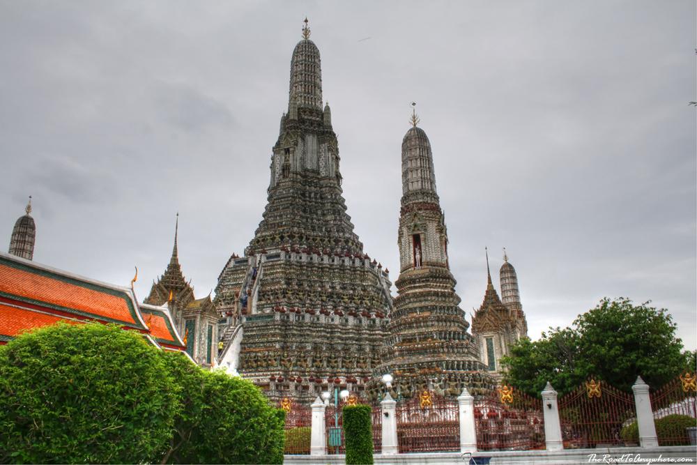 The tall towers of Wat Arun in Bangkok, Thailand