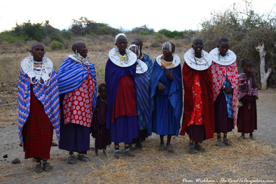 Masai women perform a welcome dance at a Masai Village in Tanzania