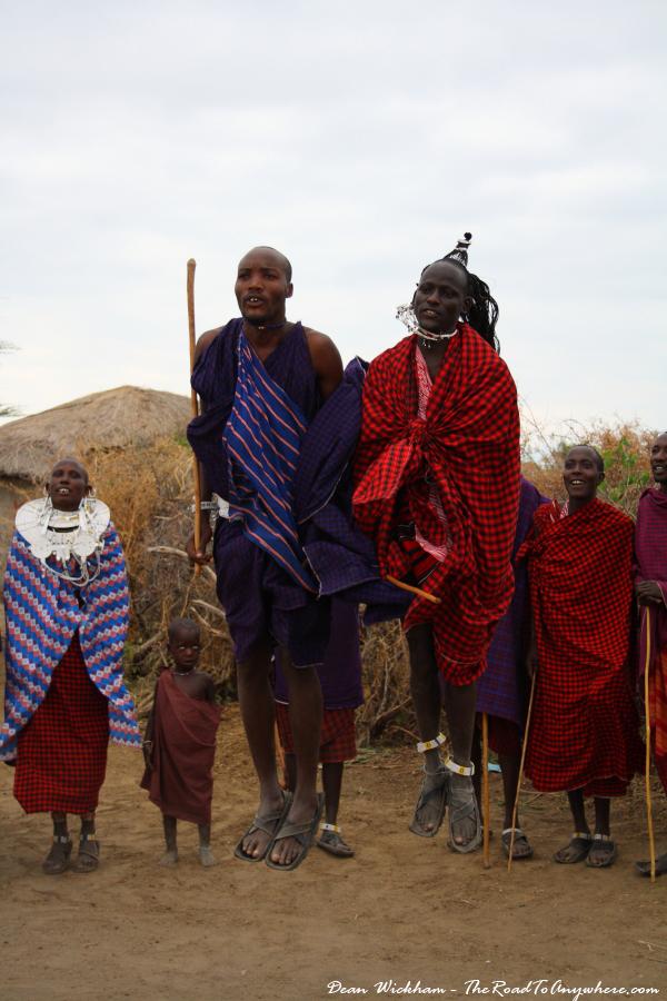 Masai men jumping in a Masai Village in Tanzania