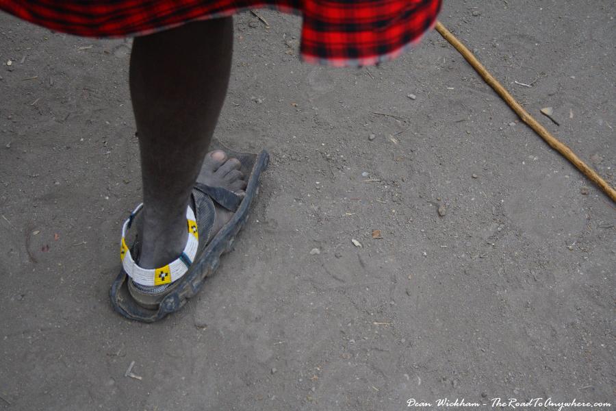 Masai sandals in a Masai Village in Tanzania