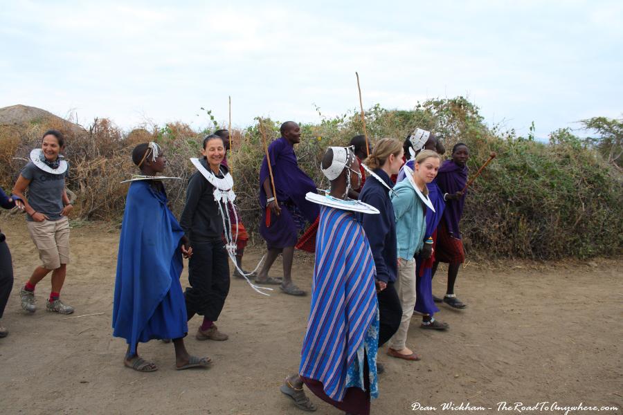 Masai women dancing in a Masai Village in Tanzania