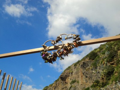 Love locks on Via Dell'Amore in Cinque Terre, Italy