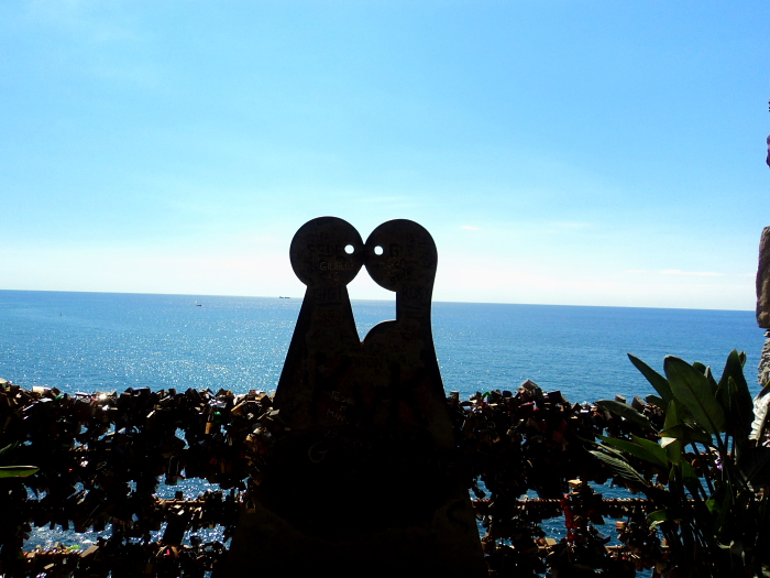 The love seat on Via Dell'Amore in Cinque Terre, Italy
