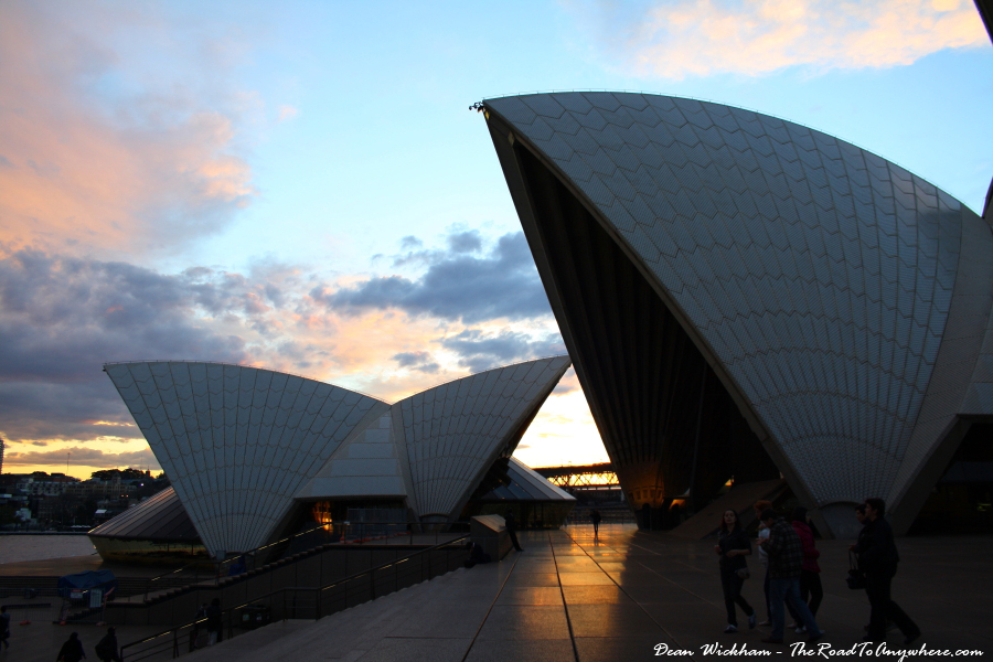 Sunset behind Sydney Opera House in Sydney, Australia